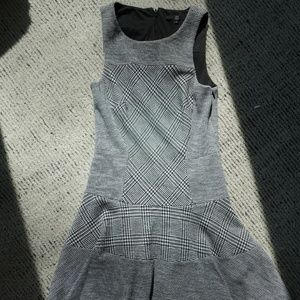 Grey Houndstooth Skater Dress